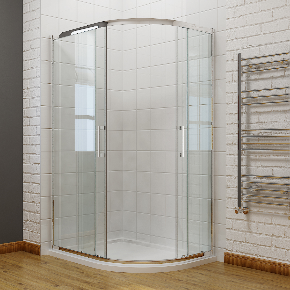 Offset Quadrant Shower Enclosure Cubicle And Tray 8mm Easy