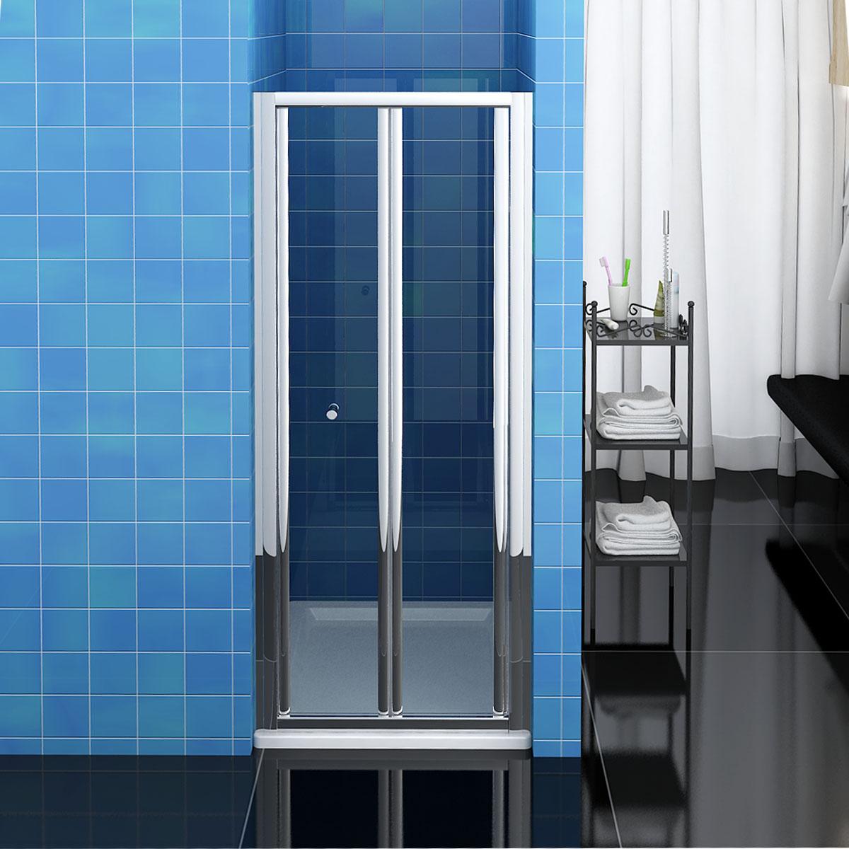 Bathroom bi fold shower door 900mm enclosure cubicle glass for Bi fold screen doors