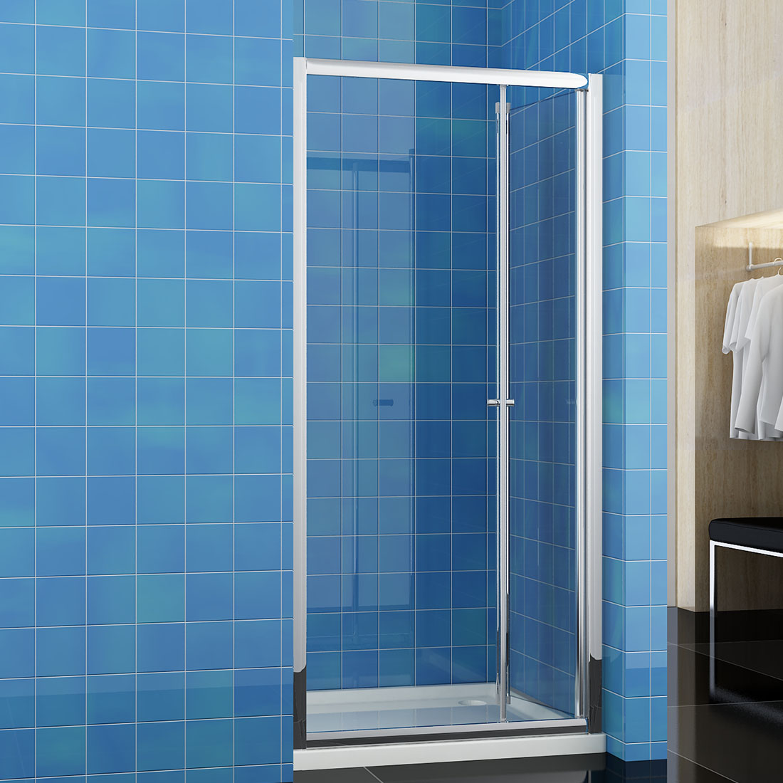 Bathroom Bi Fold Shower Door 900mm Enclosure Cubicle Glass