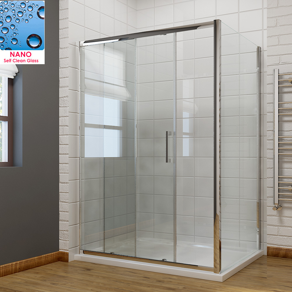 Sliding door shower enclosure shower cubicle and tray side for 1300 sliding shower door