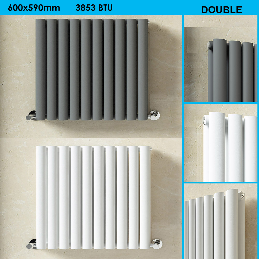 White Bathroom Radiators: Horizontal Oval Column Single/Double Panel Bathroom